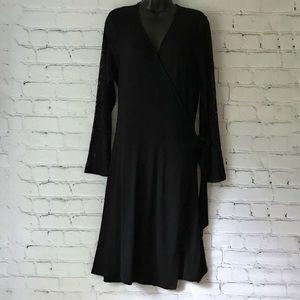Jessica London Black Wrap Dress Midi Lace Sleeves